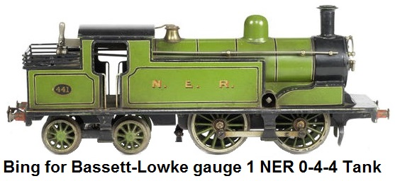 Bing for Bassett-Lowke gauge 1 NER 0-4-4 Passenger Tank engine #441