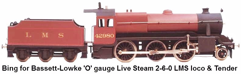 Bing for Bassett Lowke 'O' gauge Live Steam 2-6-0 Locomotive and Tender