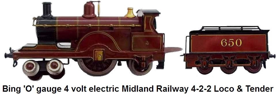 Bing 'O' gauge 4 Volt Electric Midland Railway 4-2-2 Single Locomotive and Tender #650