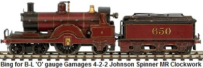 Bing for Bassett-Lowke 'O' gauge Gamages 4-2-2 Johnson Spinner #650 Clockwork in Midland Railway maroon
