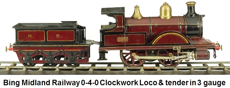 Bing Midland 0-4-0 Clockwork Engine & Tender in 3 gauge