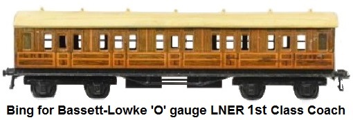 Bing for Bassett-Lowke 'O' gauge LNER Teak 3rd class coach