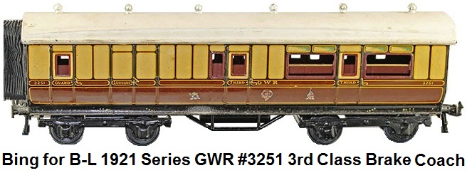 Bing for Bassett-Lowke GWR 1921 Series #3251 3rd Brake Coach No. 64 in 'O' gauge