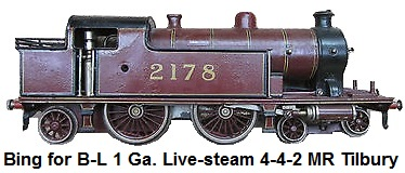 Bing for Bassett-Lowke spirit-fired steam 4-4-2 MR Tilbury Tank Locomotive #2178 in Gauge 1