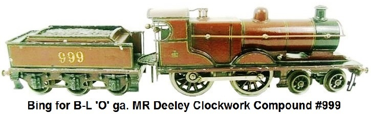 Bing for Bassett-Lowke 'O' gauge MR Deeley Clockwork Compound Locomotive #999