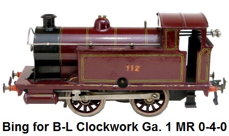 Bing for Bassett-Lowke 1 gauge Clockwork 0-4-0 Midland Tank Loco #112