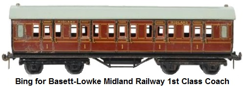 Bing for Bassett-Lowke Midland Railway eight wheel 1st class passenger coach
