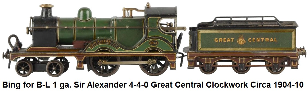 Bing for Bassett-Lowke 1 gauge Sir Alexander 4-4-0 Great Central Clockwork Loco made Ca. 1904-1910