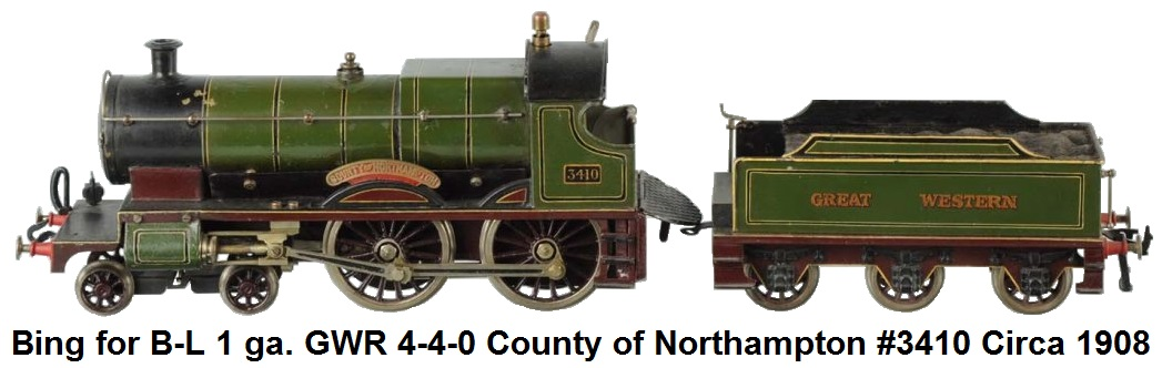 Bing for Bassett-Lowke 1 gauge 4-4-0 GWR County of Northampton Live Steam locomotive & 6-wheel Tender #3410 circa 1908