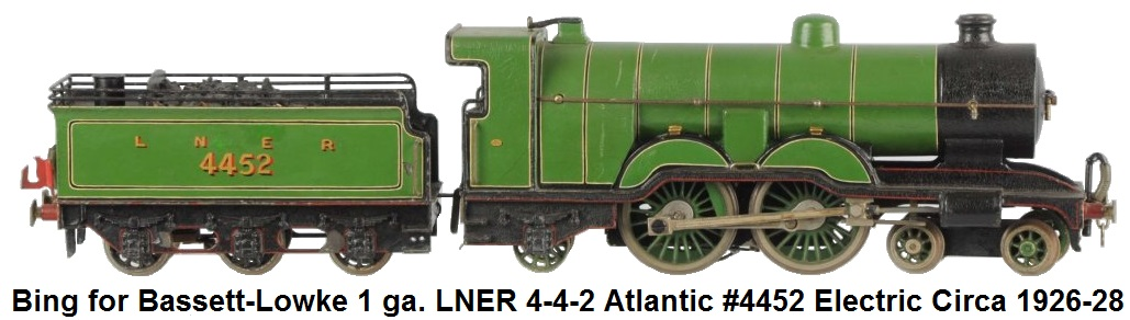 Bing for Bassett-Lowke 1 gauge Atlantic 4-4-2 Electric Model Loco and 6-wheel tender circa 1926 – 1928