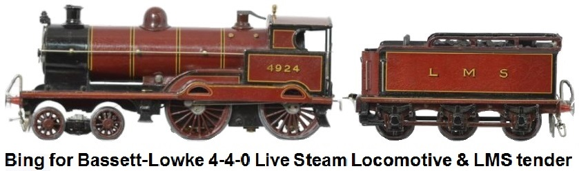 Bing for Bassett-Lowke 4-4-0 LMS live steam locomotive & 6-wheel tender