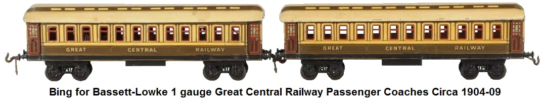 Bing for Bassett-Lowke 1 gauge Great Central Railway Passenger Coaches made Ca. 1904-1909