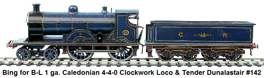 Bing for Bassett-Lowke 1 gauge 4-4-0 Loco and Tender Caledonian blue Dunalastair No.142, clockwork