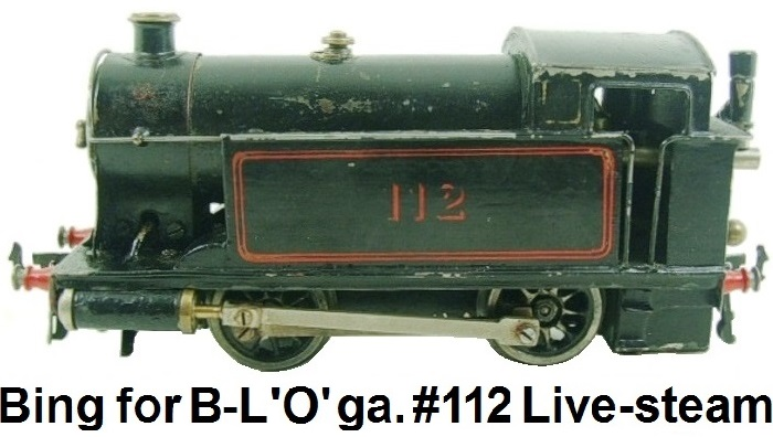 Bing for Bassett-Lowke 'O' gauge Live Steam Tank Loco #112