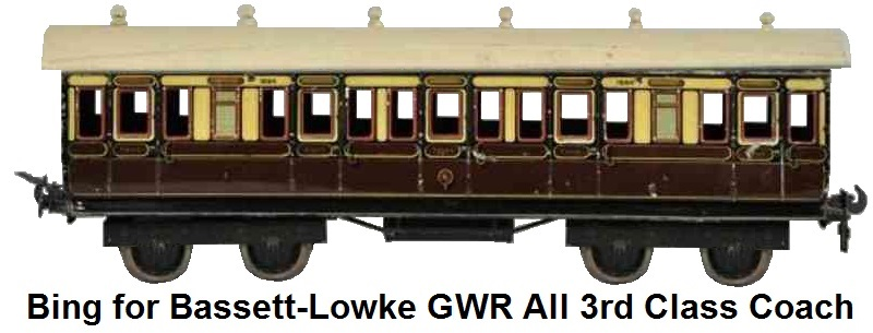 Bing for Bassett-Lowke GWR All 3rd Class Passenger Coach