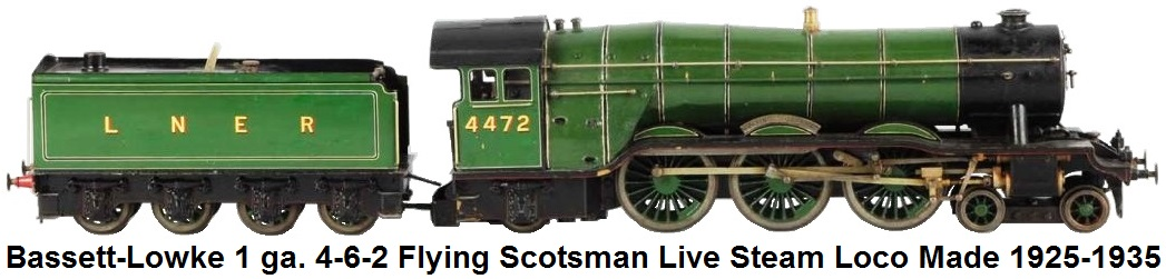 Bassett-Lowke 1 gauge 4-6-0 Flying Scotsman Live Steam Loco and 8-wheel Tender circa 1925-1935