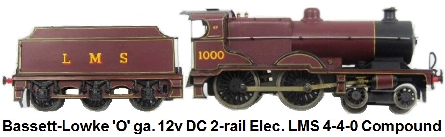 Bassett-Lowke 'O' gauge 12v DC 2-rail Electric LMS Maroon 4-4-0 Compound Locomotive and Tender #1000