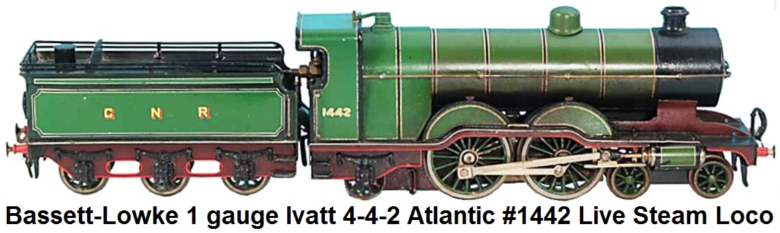 Bassett-Lowke 1 gauge Ivatt 4-4-2 Atlantic #1442 Live Steam Loco with 6-wheel Tender