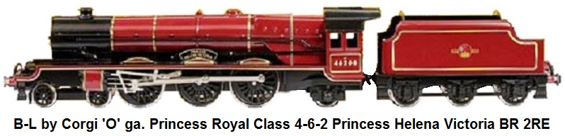 Bassett-Lowke by Corgi 'O' gauge Princess Royal Class 4-6-2 Princess Helena Victoria BR maroon No.46208, 2-Rail Electric. No.40 of a limited production