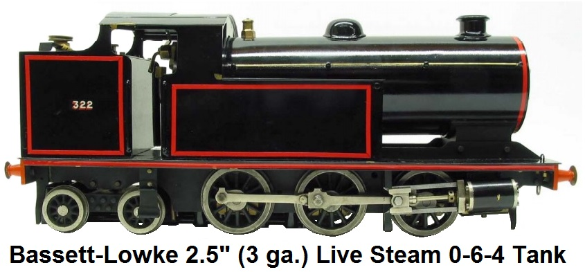 Bassett-Lowke 2.5 inch gauge Live Steam Spirit Fired 0-6-4 Tank