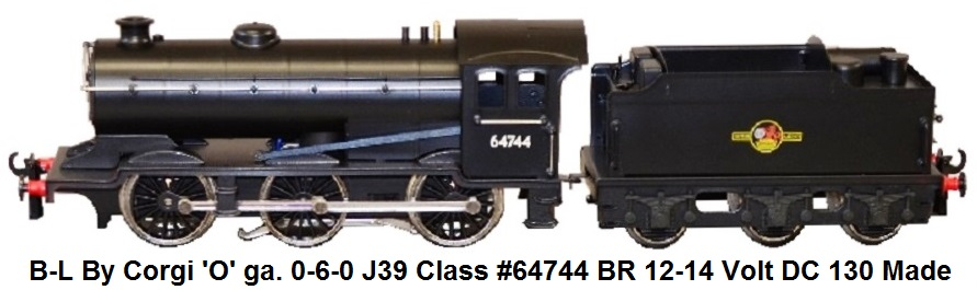 Bassett-Lowke By Corgi 'O' gauge 0-6-0 J39 class locomotive 64744 BR Black Livery with Late Crest Limited Edition of 130 made