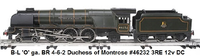 Bassett-Lowke 'O' gauge BR 4-6-2 Loco & Tender green Duchess of Montrose #46232, 3-rail 12v DC Electric