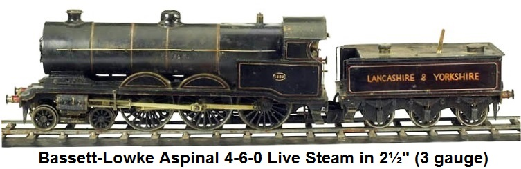 Bassett-Lowke Aspinal 4-6-0 steam loco & tender in 2½ gauge
