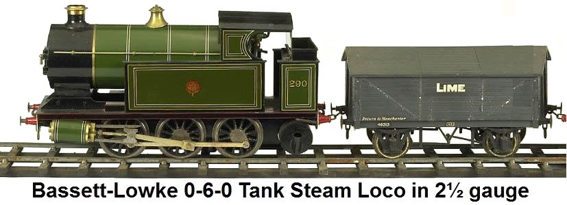Bassett-Lowke 0-6-0 Tank Steam loco in 2½ gauge