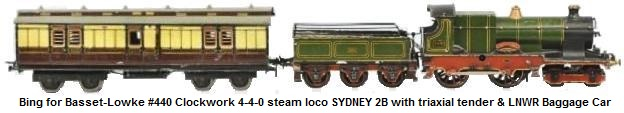 Bing for Basset-Lowke #440 Clockwork 4-4-0 steam locomotive SYDNEY 2B with triaxial tender and London and Northwest Railway Baggage Car