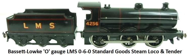 Bassett-Lowke 'O' gauge LMS Black 0-6-0 Class J39 Standard Goods Loco & Tender #4755 Electric powered for 3 Rail 12-14 volt DC operation