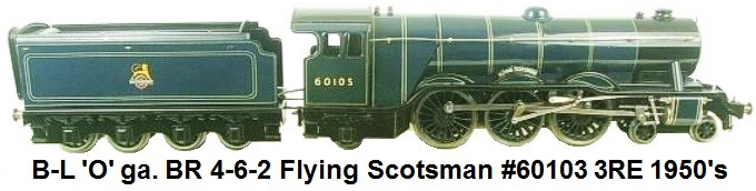 Bassett-Lowke Flying Scotsman in British Railways blue circa 1950's 'O' Gauge 4-6-2 #60103 3 Rail Electric