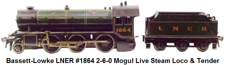 Bassett-Lowke LNER #1864 Gresley Class 2-6-0 K3 Mogul Live Steam Locomotive & Tender