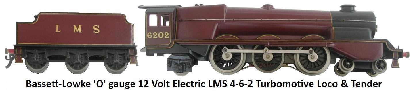 Bassett-Lowke 'O' gauge 4-6-2 12 Volt electric Turbomotive Locomotive and Tender in LMS Maroon