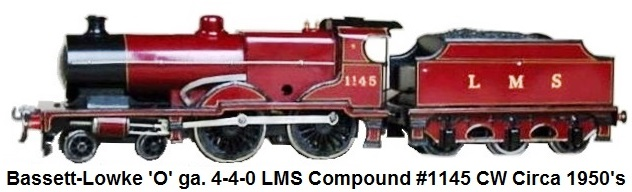 Bassett-Lowke LMS Compound clockwork 4-4-0 circa 1950's