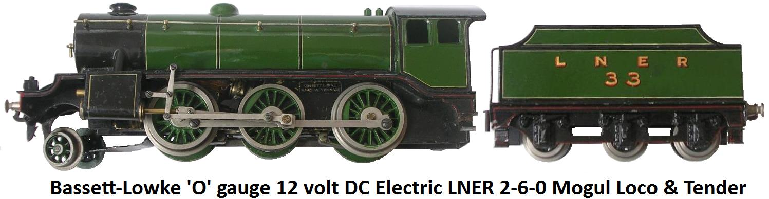Bassett-Lowke 'O' gauge Gresley Class 2-6-0 K3 Mogul 12 volt DC electric LNER Green Locomotive and Tender #33