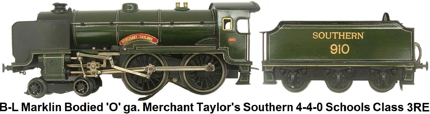 Bassett-Lowke Märklin bodied 'O' gauge Merchant Taylors 12 volt DC Electric Southern 4-4-0 Schools Class Locomotive and Tender