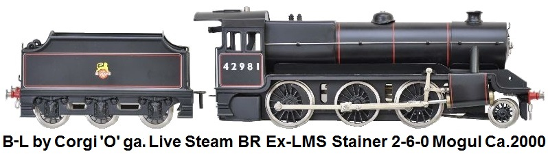 Bassett-Lowke by Corgi 'O' gauge live steam Ex-LMS Stanier 2-6-0 mogul in black British Railway livery, limited edition of 500 made in 2000
