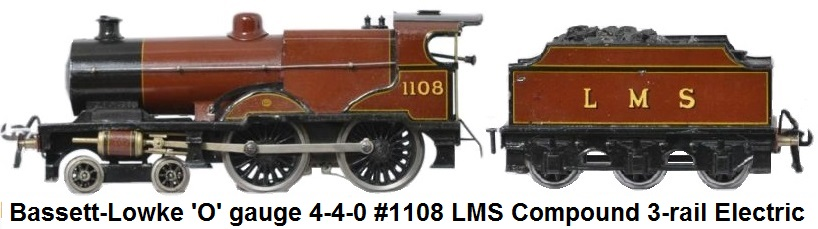 Bassett-Lowke 'O' gauge LMS Compound 4-4-0 Loco & 6-wheel Tender #1108 Electric 3 Rail 12v DC