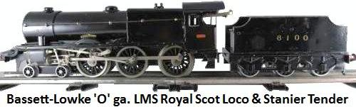 Bassett-Lowke 'O' gauge Black LMS Royal Scot #6100 clockwork Loco & Stanier Tender