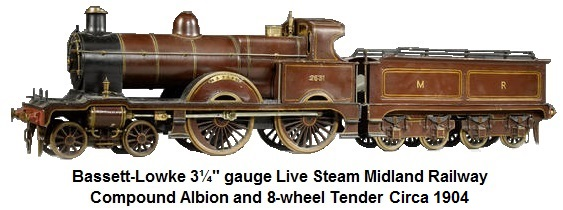 Bassett-Lowke 3 1/4in gauge live steam Midland Compound Albion and 8-wheel tender circa 1904