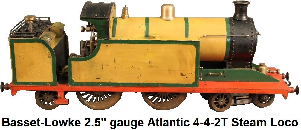 Bassett-Lowke 2.5 inch gauge 4-4-2T Atlantic Tank live steam spirit burning loco with water-tube boiler and drywall firebox, Joy valve gear, third eccentric for water pump, 4-4-2 wheel arrangement