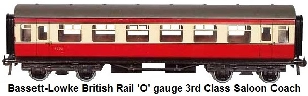 Bassett-Lowke British Rail 'O' gauge 3rd class Saloon coach