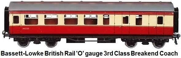 Bassett-Lowke British Rail 'O' gauge 3rd class Breakend coach