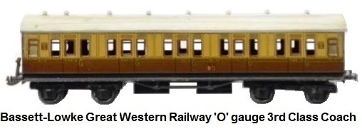 Bassett-Lowke Great Western Railway 'O' gauge 3rd class Coach