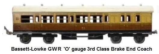 Bassett-Lowke GWR 'O' gauge Great Western Railway 3rd class Brake End Coach
