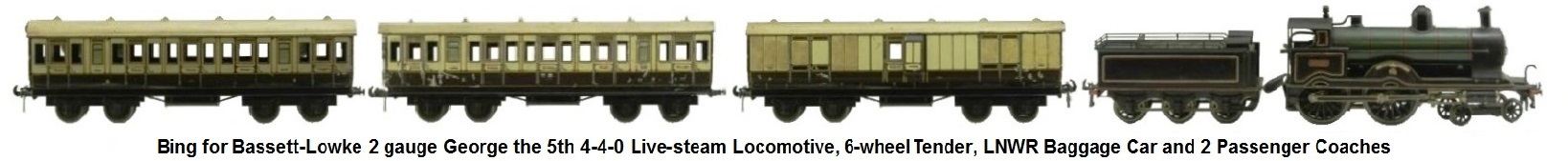 Bassett-Lowke 'O' gauge George the 5th 4-4-0 live steam locomotive, 6 wheel tender, London and Northwest Railway Baggage car and two coaches
