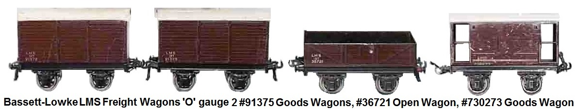Bassett-Lowke LM Freight cars 'O' gauge #730273 box car, 2 #91375 box cars, #36721 open gondola