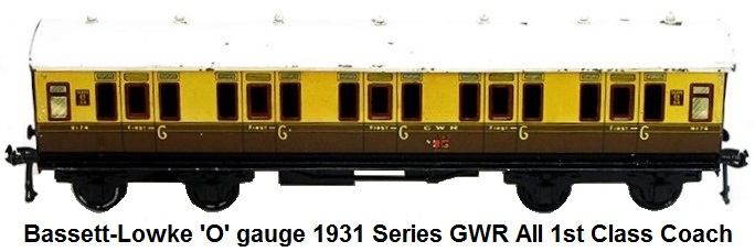 Bassett Lowke 'O' gauge 1931 series GWR all 1st Coach