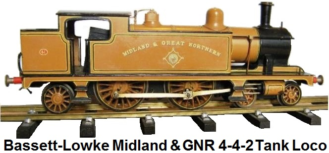 Bassett-Lowke 4-4-2 Tank locomotive in Midland & Great Northern mustard livery