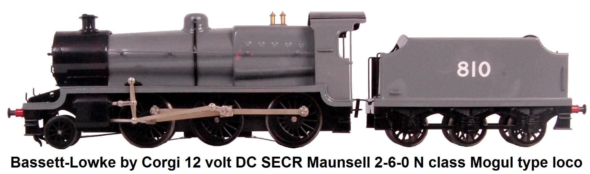 Bassett-Lowke by Corgi 'O' gauge 12 volt DC SECR Maunsell 2-6-0 N class Mogul type locomotive and tender, finished in Austerity grey with #810 to tender sides, in the original black box, limited edition